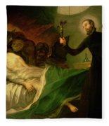Saint Francis Borgia Helping A Dying Impenitent Fleece Blanket