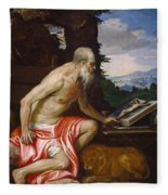 Saint Jerome In The Wilderness Fleece Blanket