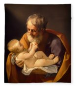 Saint Joseph And The Christ Child Fleece Blanket