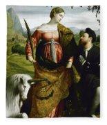 Saint Justina With The Unicorn Fleece Blanket