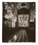 Saint Louis Cathedral New Orleans Black And White Fleece Blanket