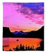Saint Mary Lake Twilight Fleece Blanket