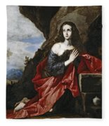 Saint Mary Magdalene In The Desert Fleece Blanket