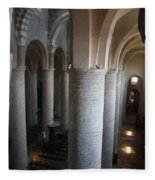 Saint Philibert Church Interior Burgundy Fleece Blanket