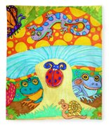 Salamander And Friends Fleece Blanket