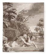 Salmacis And Hemaphroditus United In One Body Fleece Blanket