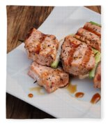 Salmon Teriyaki Skewers Fleece Blanket