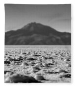 Salt Flat Surface Black And White Fleece Blanket