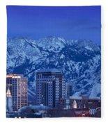 Salt Lake City Skyline Fleece Blanket
