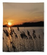 Salt Marsh Sunset Fleece Blanket
