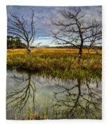 Salty Marsh At Jekyll Island Fleece Blanket