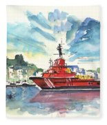 Salvage Ship In Cartagena Fleece Blanket