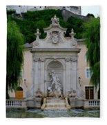 Salzburg Castle With Fountain Fleece Blanket