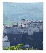 Salzburg Fortress Panorama Fleece Blanket