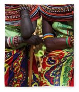 Samburu Women Dancing Kenya Fleece Blanket