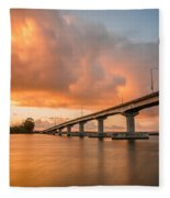 Samoa Bridge At Sunset Fleece Blanket