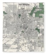 San Antonio Texas Hand Drawn Map  1909 Fleece Blanket