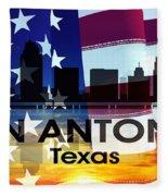 San Antonio Tx Patriotic Large Cityscape Fleece Blanket