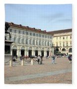 San Carlo Square In Turin Fleece Blanket