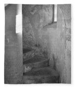 San Christobal Staircase- Black And White Fleece Blanket