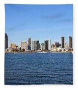 San Diego Ca Harbor Skyline Fleece Blanket