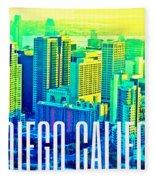 San Diego Postcard Fleece Blanket