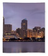 San Diego Skyline At Dusk Panoramic Fleece Blanket