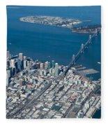 San Francisco Bay Bridge Aerial Photograph Fleece Blanket