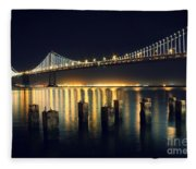 San Francisco Bay Bridge Illuminated Fleece Blanket