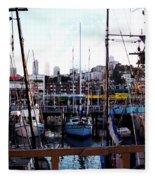 San Francisco Behind The Masts Fleece Blanket