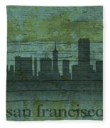 San Francisco California Skyline Silhouette Distressed On Worn Peeling Wood Fleece Blanket