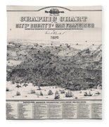 San Francisco Graphic Map 1875 Fleece Blanket