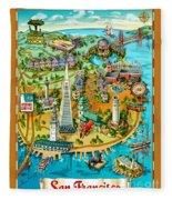 San Francisco Illustrated Map Fleece Blanket