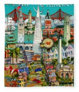 San Francisco Illustration Fleece Blanket