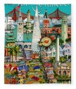 San Francisco Illustration Fleece Blanket