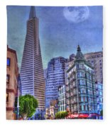 San Francisco Transamerica Pyramid And Columbus Tower View From North Beach Fleece Blanket