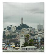 San Francisco View From Fishermans Wharf Fleece Blanket