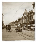 94-095-0001 Early Knox Automobile First Street San Jose California Circa 1905 Fleece Blanket