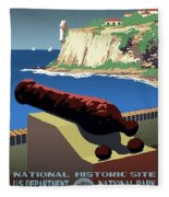 San Juan National Historic Site Vintage Poster Fleece Blanket