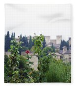 San Nicolas View Of The Alhambra On A Rainy Day - Granada - Spain - Spain Fleece Blanket