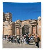 Sanaa Old Town Busy Street In Yemen Fleece Blanket