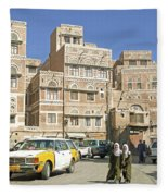 Sanaa Old Town In Yemen Fleece Blanket