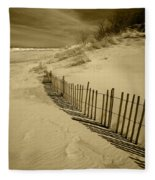 Sand Dunes And Fence Fleece Blanket