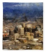 Sand Storm Approaching Phoenix Photo Art Fleece Blanket