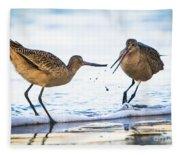 Sanderlings Playing At The Beach Fleece Blanket