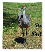 Sandhill Crane Birthday Fleece Blanket