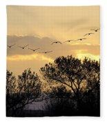 Sandhill Cranes Flying At Sunset Fleece Blanket
