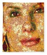 Sandra Bullock In The Way Of Arcimboldo Fleece Blanket
