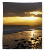 Sandy Bay At Dusk Fleece Blanket