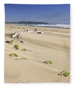 Sandy Beach On Pacific Ocean In Canada Fleece Blanket